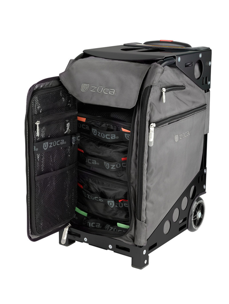 ZÜCA Pro Travel Graphite Gray/Black - inside view w/organizer bags