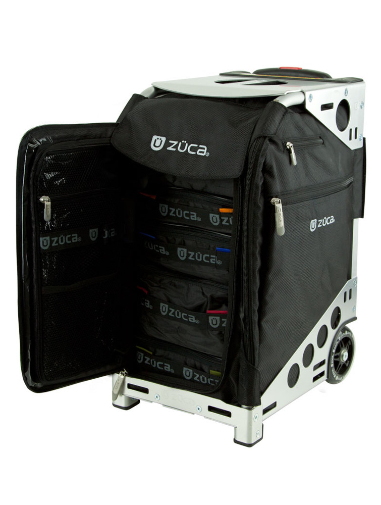 ZÜCA Pro Travel Black/Silver - inside view w/organizer bags