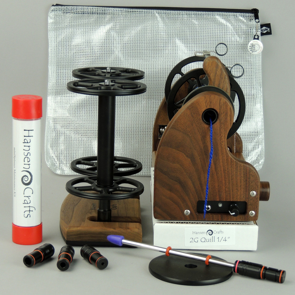 """The Getting Started Bundle includes; a Classic miniSpinner with the HansenCrafts Standard Flyer, Maintenance kit, 2 extra HansenCrafts Standard (jumbo size) bobbins, 2 or 3 ply Lazy Kate (your choice), Orifice reducer set, Quill - 1/4""""-6mm, and a Gear/Accessory bag."""