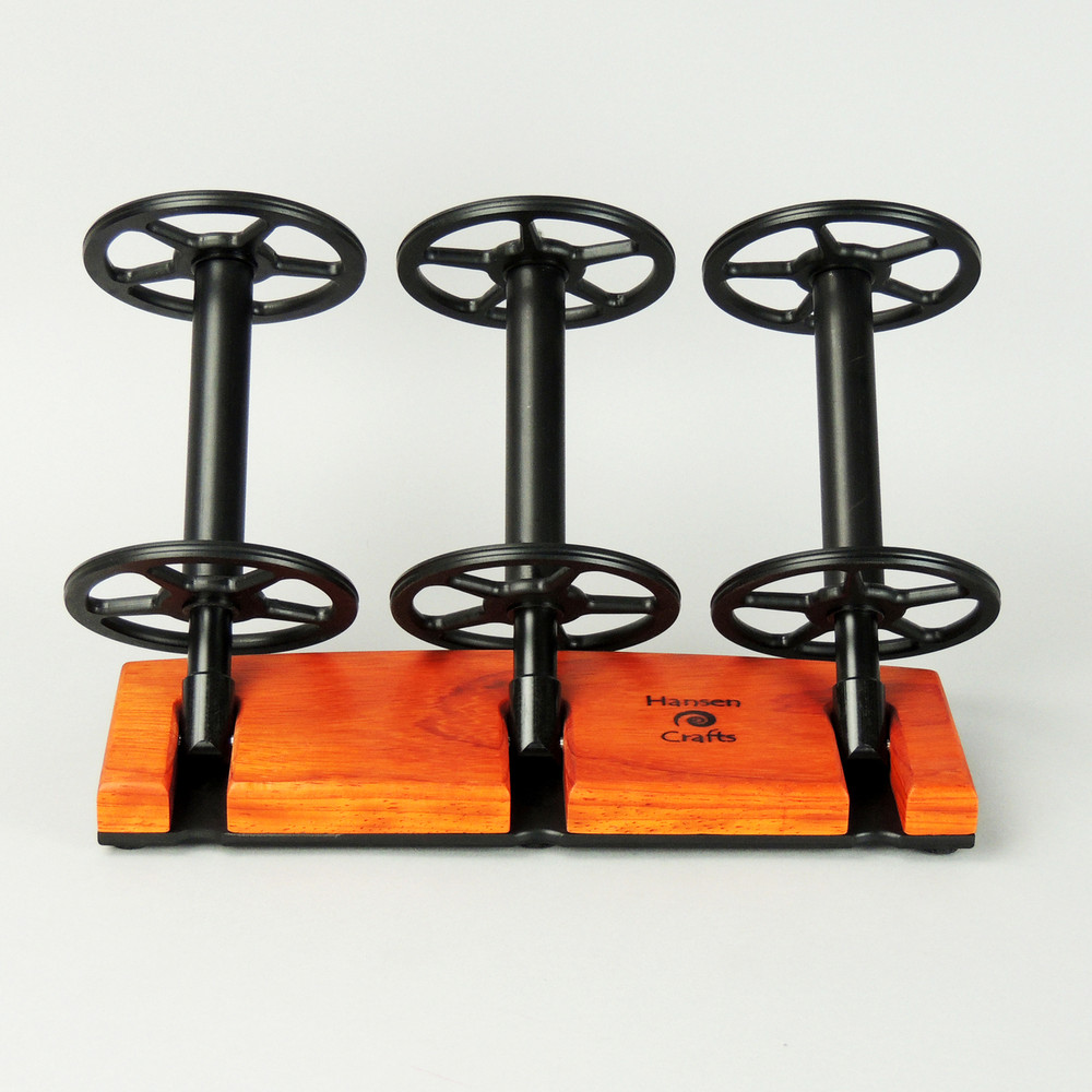 Padauk Lazy Kate - 45 degree angle for tensioned plying (bobbins not included)