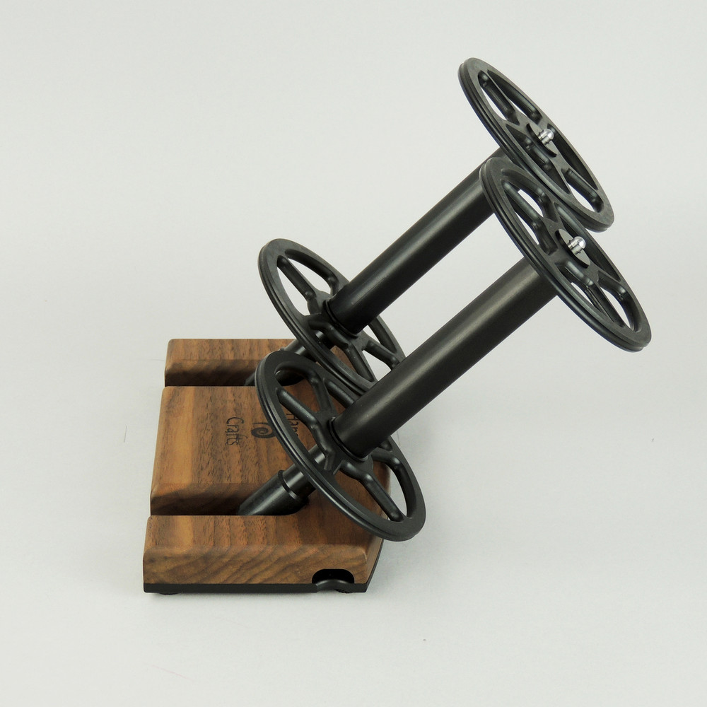 Walnut Lazy Kate - 45 degree angle for tensioned plying (bobbins not included)
