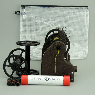 The Ultimate E-Spinner, the HansenCrafts miniSpinner Pro, in Wenge! The Pro includes 2 additional HansenCrafts Standard or 3 additional HansenCrafts Lace bobbins, gear bag, maintenance kit, and orifice reducer set.