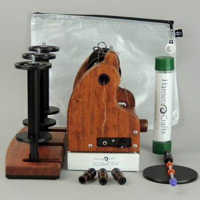 """The Fine Spinner Bundle includes; Classic miniSpinner with a lace flyer, 3 extra lace break down bobbins, 2 or 3 Ply Lazy Kate (your choice), Orifice reducer set, Quill - 1/4""""-6mm, Maintenance kit, and a Gear/Accessory Bag."""