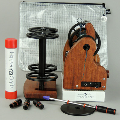 "The Getting Started Bundle includes; a Classic miniSpinner with the HansenCrafts Standard Flyer, Maintenance kit, 2 extra HansenCrafts Standard (jumbo size) bobbins, 2 or 3 ply Lazy Kate (your choice), Orifice reducer set, Quill - 1/4""-6mm, and a Gear/Accessory bag."
