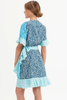 Ryan Wrap Dress-Blue Tonal Pebble