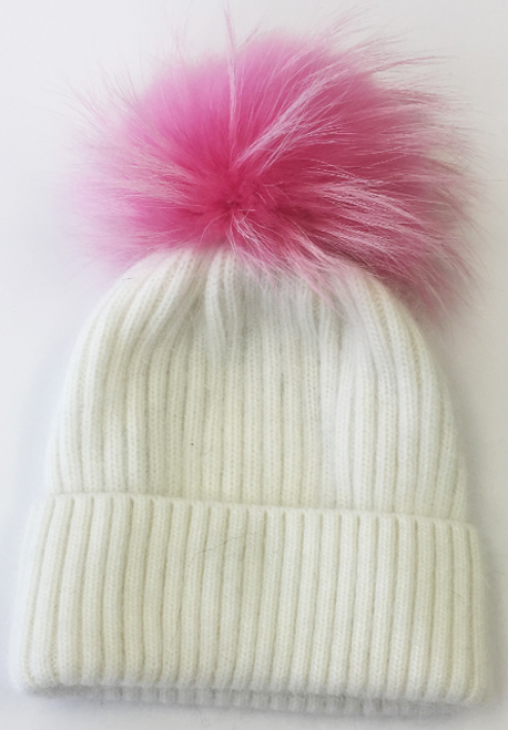 White Hat with Colored Pom