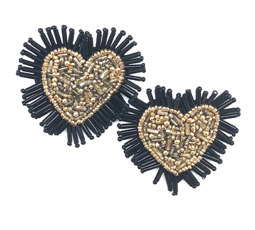 Gold and Black Beaded Heart Studs