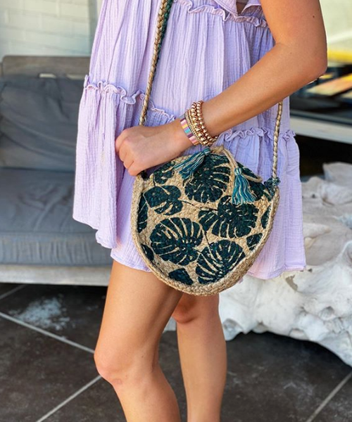 Round Summer Jute Crossbody