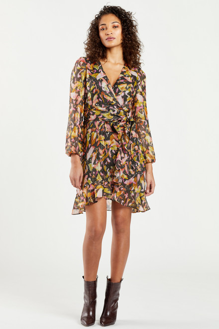 Wiley Printed Metallic Wrap Dress in Fruity