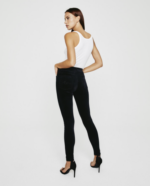 The Farrah Skinny in Super Black Velvet