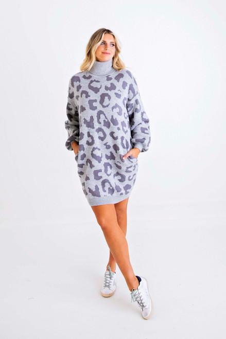 Leopard Turtleneck Sweater Dress