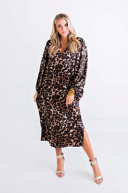Leopard Satin Vneck Puff Sleeve Midi Dress