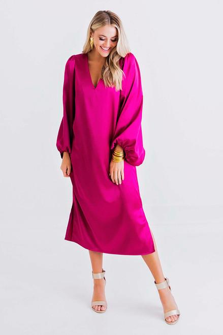 Magenta Solid Vneck Signature Dress