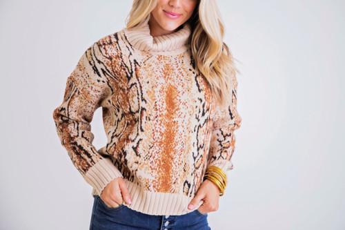 Snake Turtleneck Sweater