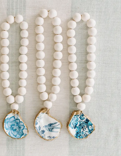 Petite Decoupage Oyster Shell Blessing Beads