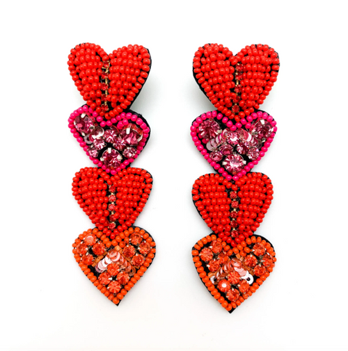 PREORDER Multi Heart Drop Earrings