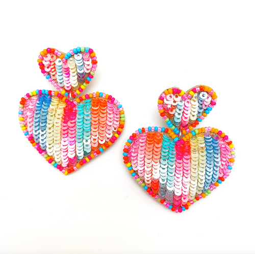 Sequin Heart Rainbow Earring