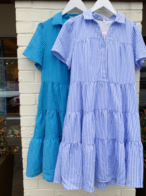 Blue Button Trim Tier Dress