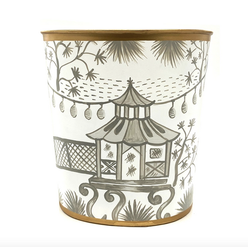 Grey Garden Party Wastebasket