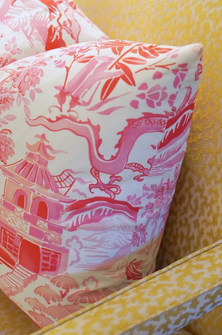 Pink Gardens of Chinoise Pillow 22""