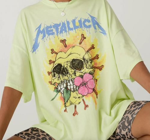 Metallica Flower Skull Oversized Tee