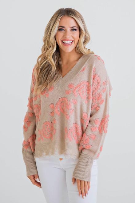 Ella Floral Vintage Vneck Sweater