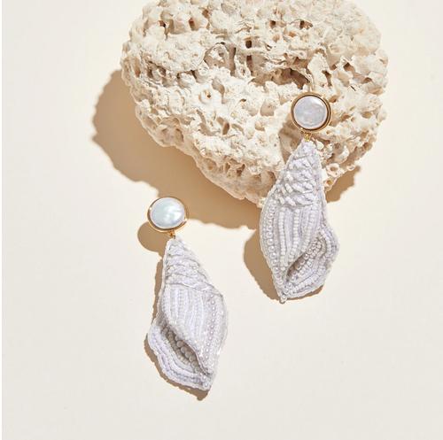 Nell Seashell Drop Earrings White