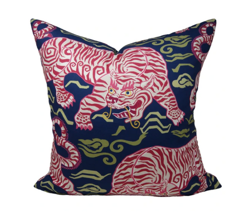 """Tibetan Tiger Pillow 22"""" Navy"""