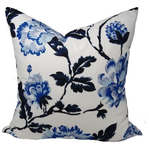 """Blue Blossom Pillow 22"""""""