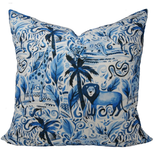 "Journey in The Jungle Pillow 22"" Blue"
