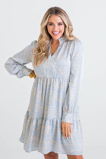 Blue Zebra Long Sleeve Dress