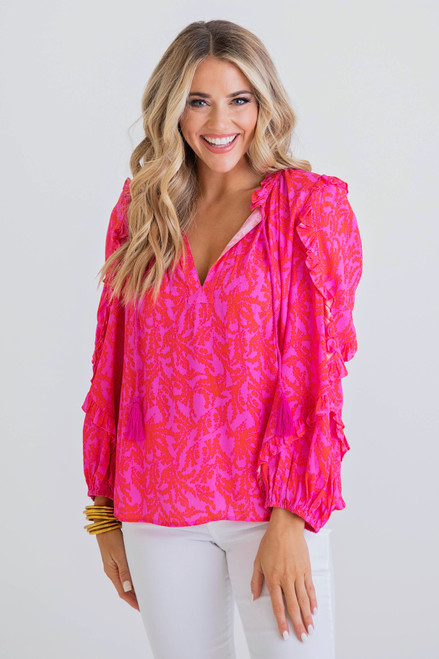 Livi Floral Top in Hot Pink