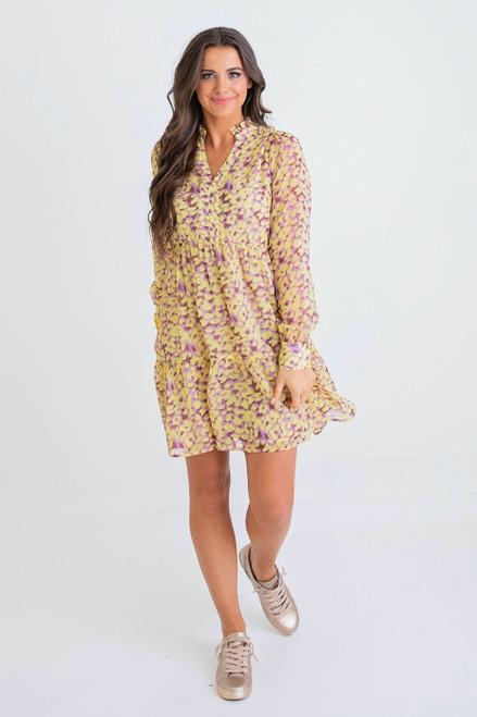 Yellow Leopard Ruffle Vneck Dress