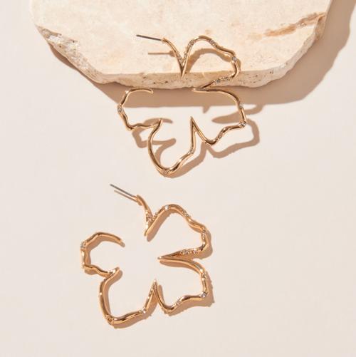 Simone Sculptural Floral Hoop Earring
