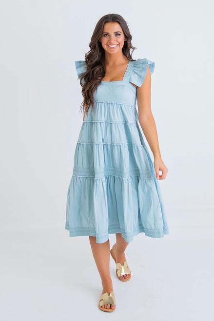 Solid Poplin Ruffle Sleeveless Tier Dress