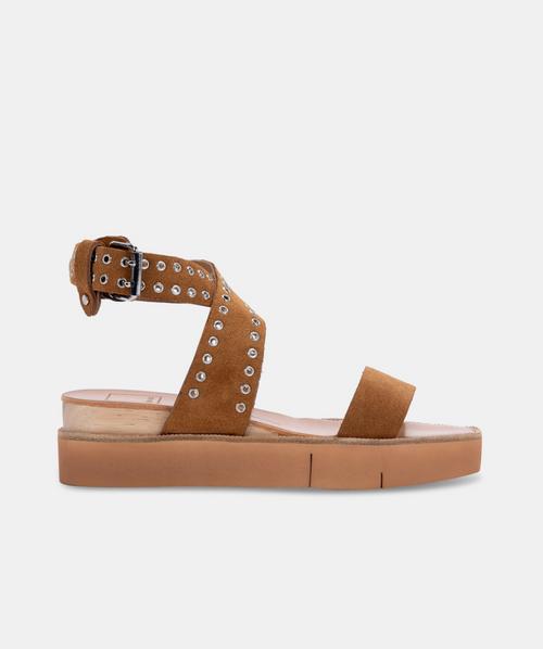 Panko Stud Sandals in Caramel Suede