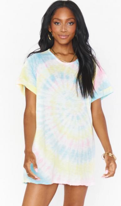 Dylan Tshirt Dress in Rainbow Tie Dye