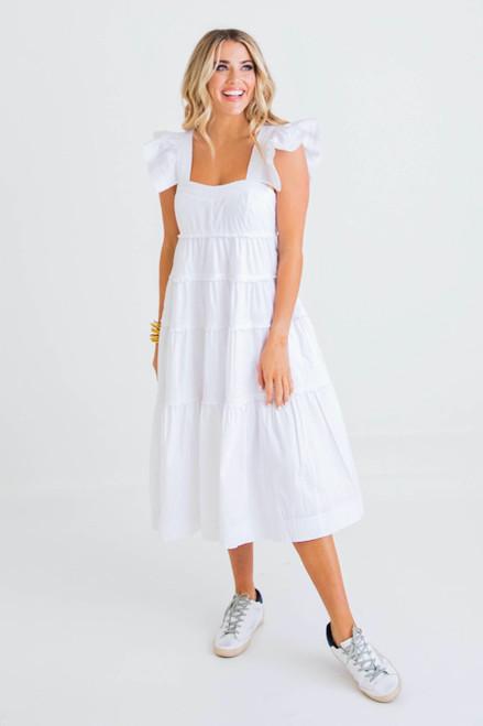 White Poplin Ruffle Tier Dress