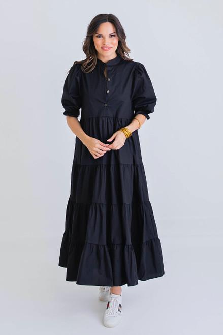 Black Poplin Tier Midi Dress