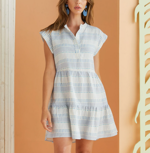 Lachlan Dress in Summer Blue Line and Dot