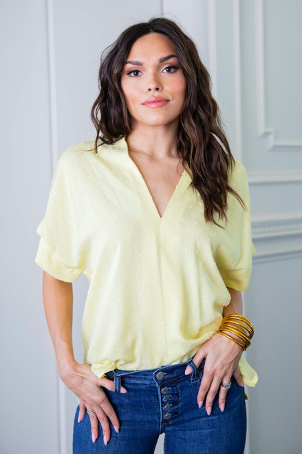Yellow Solid Swiss Dot Vneck Signature Top