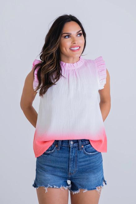 Pinks Tie Dye Gauze Top