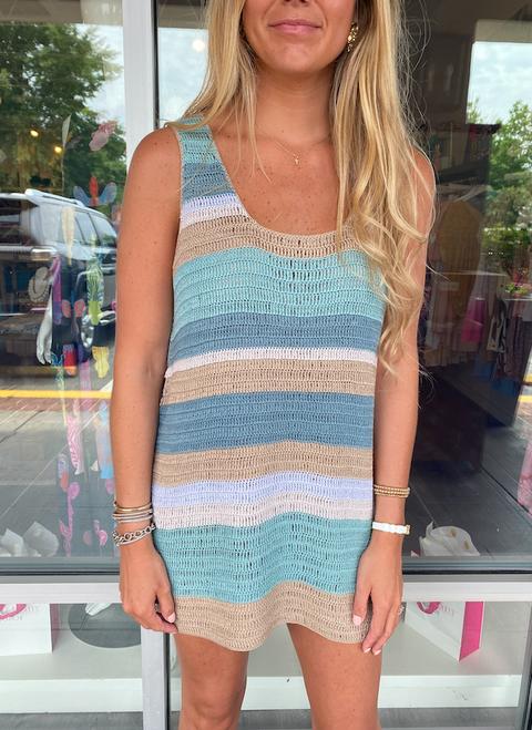 Summerly Mini Dress in Mermaid Crochet