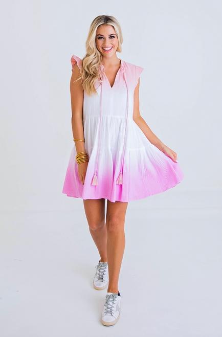 Pinks Tie Dye Gauze Dress