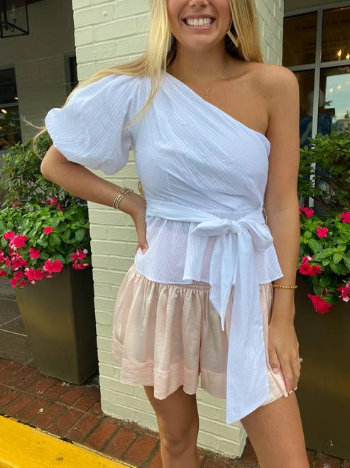 Jessey One Shoulder Top in White