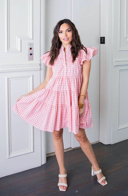 Pink Check Pleat Boho Tiered Dress