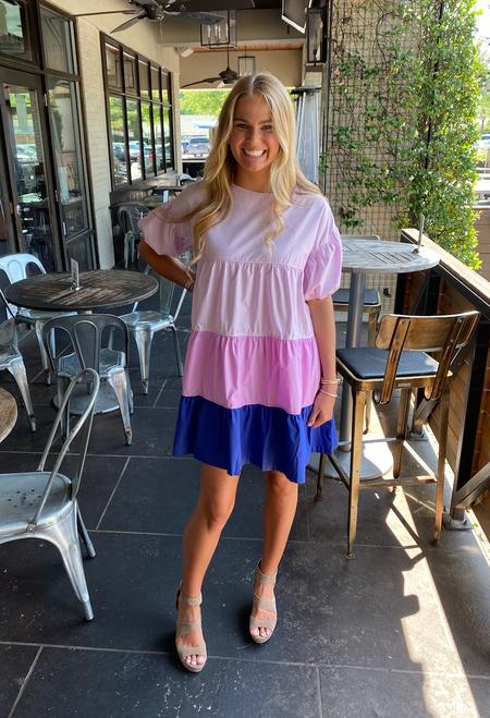 Lavender Color Block Dress