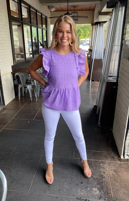 Lilac Eyelet Ruffles Trimmed Top