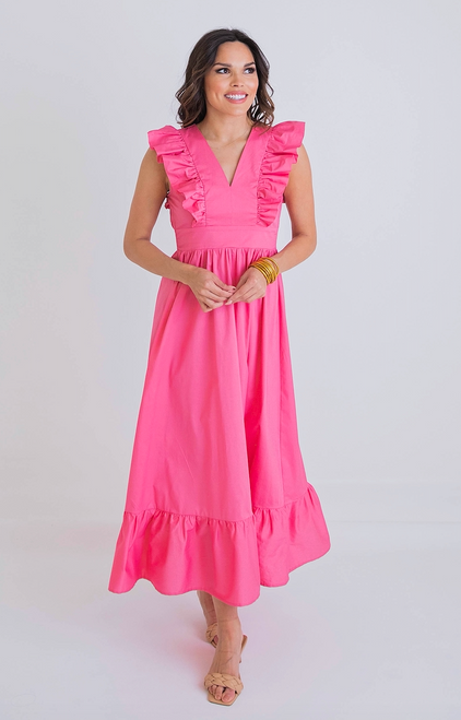 Lindsey Pink Ruffle Poplin Maxi