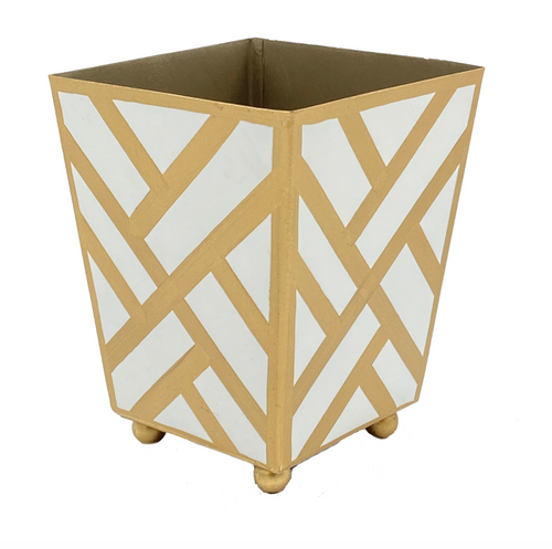 """Newport White and Gold 4"""" Cachepot"""